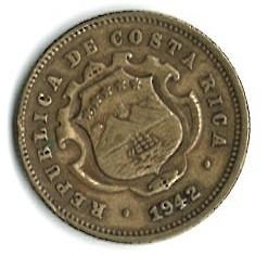 Монета > 10сентимів, 1942-1947 - Коста-Ріка  - obverse