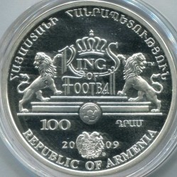 Moneda > 100dram, 2009 - Armenia  (Los Reyes del Fútbol - Franz Beckenbauer) - reverse