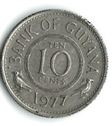 Minca > 10cents, 1977 - Guyana  (Coat of arms on reverse) - obverse