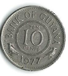Minca > 10cents, 1977 - Guyana  (Coat of arms on reverse) - reverse