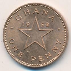 Кованица > 1пени, 1958 - Гана  - reverse