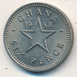 Кованица > 6пенија, 1958 - Гана  - reverse