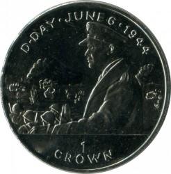 Moneta > 1corona, 1994 - Isola di Man  (50th Anniversary - D-Day. General Eisenhower) - reverse