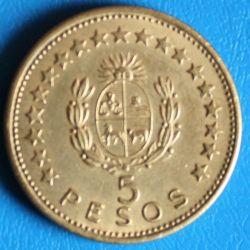 Moeda > 5pesos, 1965 - Uruguai  - obverse
