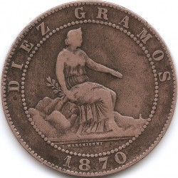 Coin > 10 céntimos, 1870 - Spain  - reverse
