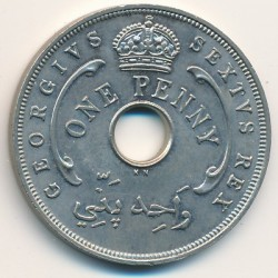 Coin > 1 penny, 1951 - British West Africa  - obverse