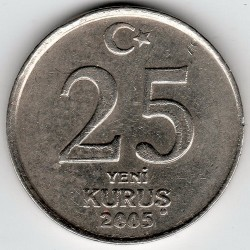 Münze > 25NeueKuruş, 2005-2008 - Türkei  - obverse
