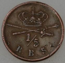 "Moneta > ⅕rigsbankskilling, 1842 - Dania  (Napis na rewersie ""R.B.S."") - obverse"