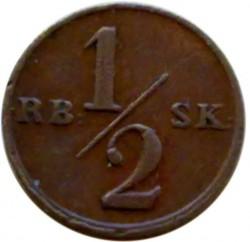 Монета > ½ригсбанкскилинг, 1838 - Дания  - reverse