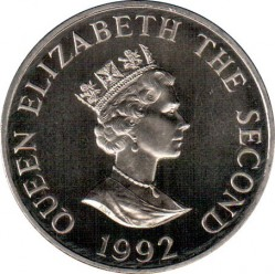 Monedă > 2 lire, 1992 - Alderney  (40th Anniversary - Accession of Queen Elizabeth II) - obverse