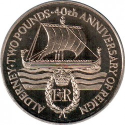 Monedă > 2 lire, 1992 - Alderney  (40th Anniversary - Accession of Queen Elizabeth II) - reverse