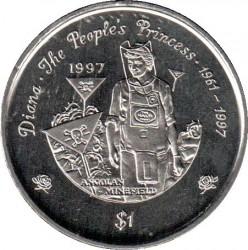 Монета > 1доллар, 1997 - Либерия  (Гибель Принцессы Дианы) - reverse