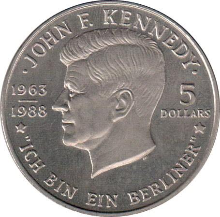 5 Dollar 1988 John F Kennedy Niue Münzen Wert Ucoinnet