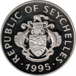 Moneda > 1rupia, 1995 - Seychelles  (Matrimonio del Rey Jorge VI y de Elizabeth Bowes-Lyon 1923) - obverse