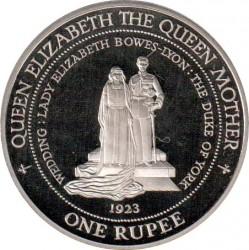 Moneda > 1rupia, 1995 - Seychelles  (Matrimonio del Rey Jorge VI y de Elizabeth Bowes-Lyon 1923) - reverse