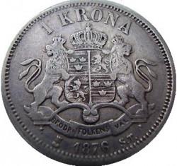 Münze > 1Krone, 1875-1876 - Schweden   - reverse