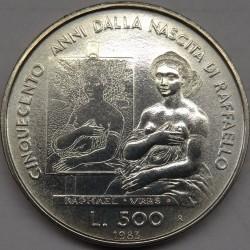 Moneta > 500lire, 1983 - San Marino  (500° anniversario - Nascita di Raffaello Sanzio) - reverse