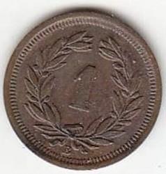 Coin > 1rappen, 1891 - Switzerland  - obverse