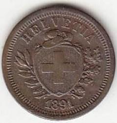 Coin > 1rappen, 1891 - Switzerland  - reverse