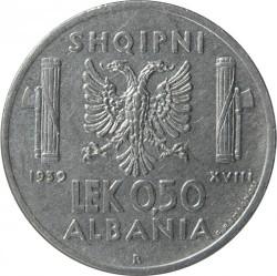 Монета > 0.5лек, 1939 - Албанія  (Не магнетик) - reverse