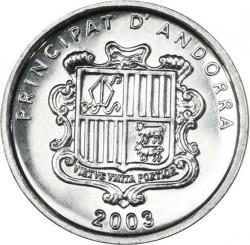 Moneda > 1céntimo, 2003 - Andorra  (Iglesia de San Miguel de Engolasters) - obverse