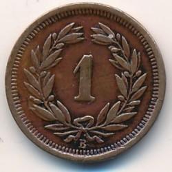 Монета > 1раппен, 1892 - Швейцарія  - obverse