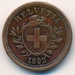 Монета > 1раппен, 1892 - Швейцарія  - reverse