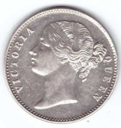 "Coin > 1 rupee, 1840 - India - British  (""VICTORIA QUEEN"" on the sides of head) - obverse"