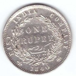 "Coin > 1 rupee, 1840 - India - British  (""VICTORIA QUEEN"" on the sides of head) - reverse"