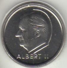 """Minca > 1frank, 2000 - Belgicko  (Nadpis v holandčine - """"BELGIE"""") - obverse"""