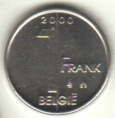 "Minca > 1frank, 2000 - Belgicko  (Nadpis v holandčine - ""BELGIE"") - reverse"
