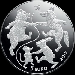 "Moneda > 5 euros, 2017 - Letonia  (Tales - ""The Old Man's Mitten"") - obverse"