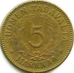 Münze > 5Mark, 1946 - Finnland  - reverse
