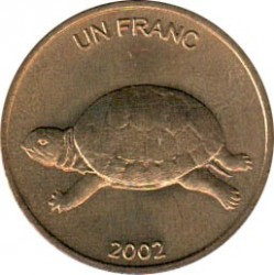 Münze > 1 Franken, 2002 - Kongo - KDR  (Animal - Turtle) - obverse