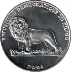 Մետաղադրամ > 1ֆրանկ, 2004 -  Կոնգոյի Դեմոկրատական Հանրապետություն  (25th Anniversary - Reign of John Paul II /Visit to Congo/) - obverse
