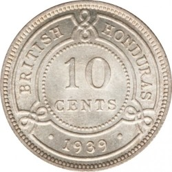 Coin > 10cents, 1939-1946 - British Honduras  - reverse