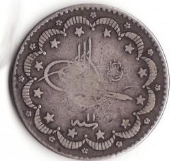 Монета > 5курушів, 1876 - Османська імперія  (В'язь праворуч від тугри) - obverse