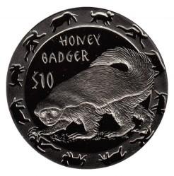 Moneta > 10dollari, 2008 - Sierra Leone  (Animali notturni - Tasso del miele) - obverse