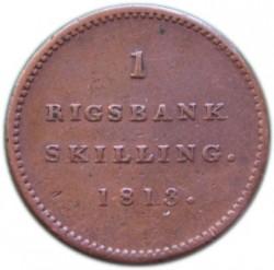 Кованица > 1ригсбанкскилинг, 1813 - Данска  - reverse