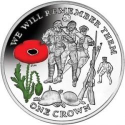 Монета > 1крона, 2014 - Остров Мэн  (100 лет Первой Мировой войне. Футбол, Цветное покрытие) - reverse