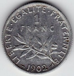 سکه > 1فرانک, 1902 - فرانسه  - reverse