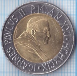 Mynt > 500 lire, 1999 - Vatikanstaten  (Time of Choices, Time of Hope) - obverse