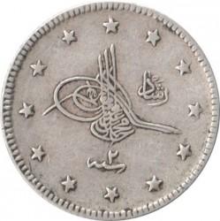 """Munt > 2kurus, 1909 - Ottomaanse Rijk  (Old type: """"Reshat"""" right of Toughra) - obverse"""