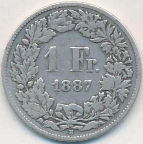 1 franc 1887, Switzerland - Coin value - uCoin net