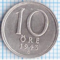 Munt > 10ore, 1943 - Zweden  - reverse