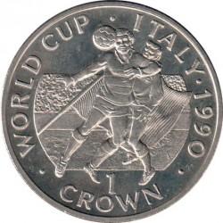 Moneta > 1corona, 1990 - Gibilterra  (XIV Coppa del Mondo FIFA, Italia 1990 - Due giocatori con la palla in alto) - reverse