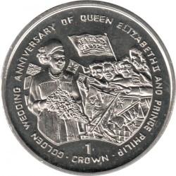 Münze > 1Krone, 1997 - Gibraltar  (50th Anniversary - Wedding of Queen Elizabeth II and Prince Philip /Queen and crowd/) - reverse