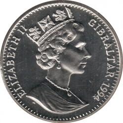 Монета > 1крона, 1994 - Гібралтар  (100-та річниця повернення Шерлока Холмса - Собака Баскервілей) - obverse