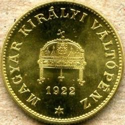 Moneda > 20fillér, 1922 - Hongria  (Brass /non-magnetic/) - obverse