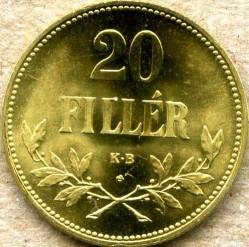 Moneda > 20fillér, 1922 - Hongria  (Brass /non-magnetic/) - reverse